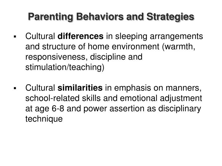 Parenting Behaviors and Strategies