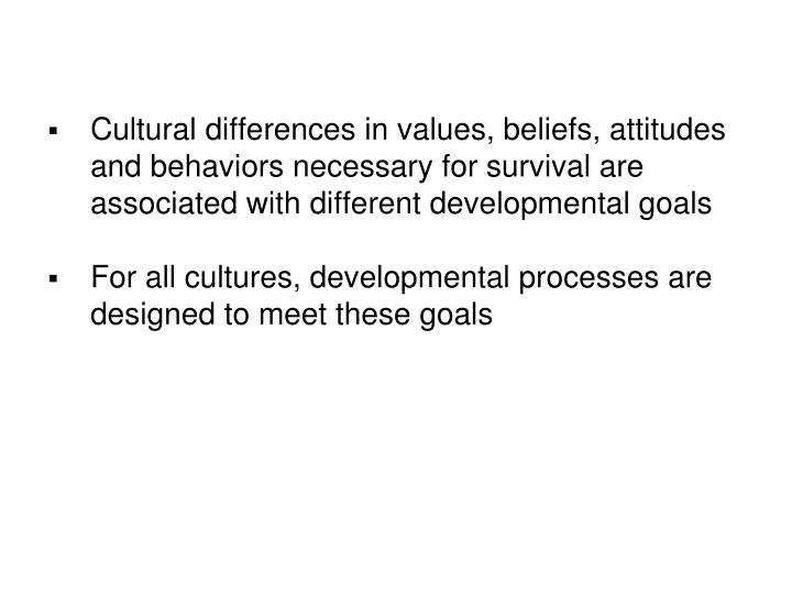 Cultural differences in values, beliefs, attitudes and behaviors necessary for survival are associated with different developmental goals