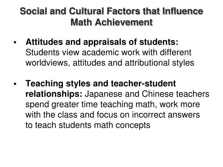 Social and Cultural Factors that Influence Math Achievement