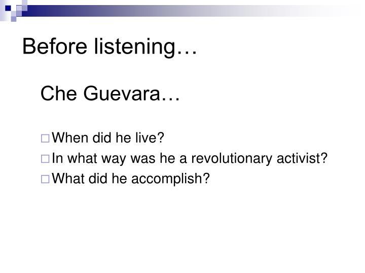 Before listening…