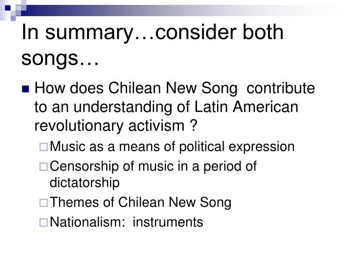 In summary…consider both songs…