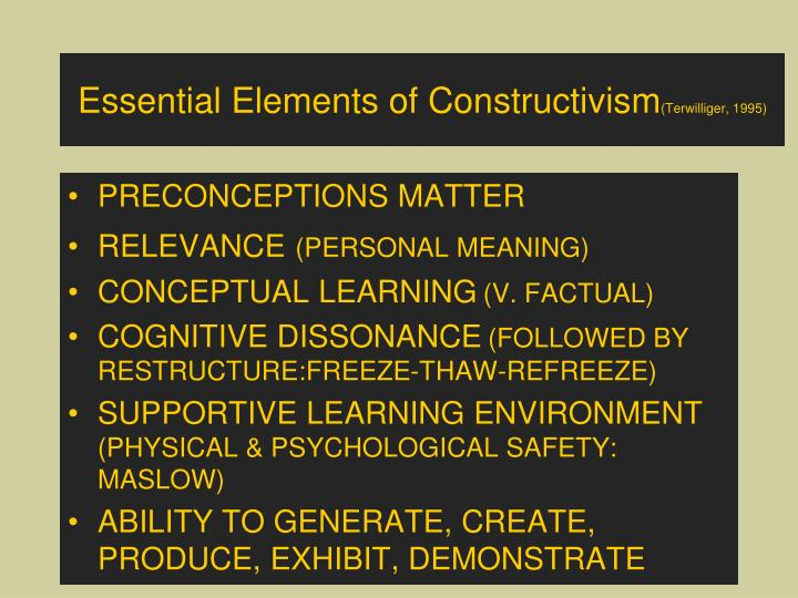 Essential Elements of Constructivism
