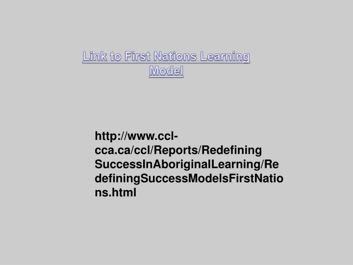 Link to First Nations Learning Model