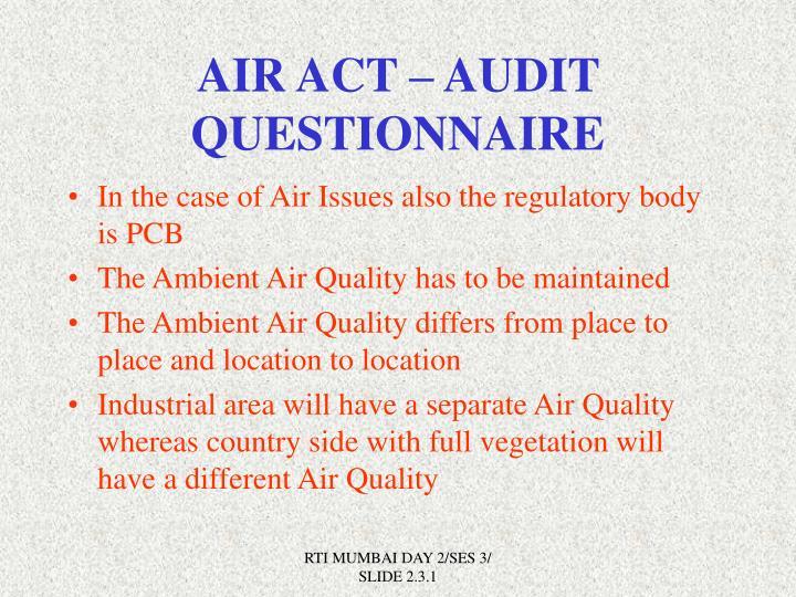 AIR ACT – AUDIT QUESTIONNAIRE