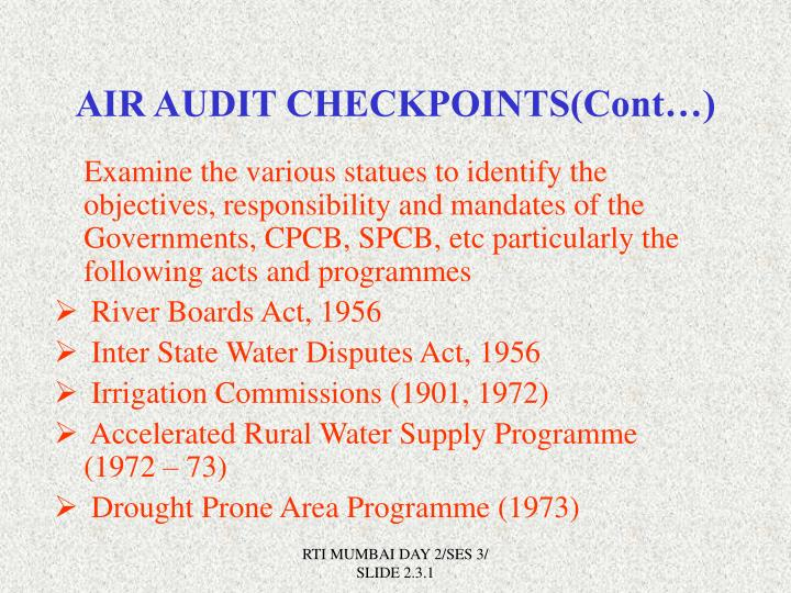 AIR AUDIT CHECKPOINTS(Cont…)