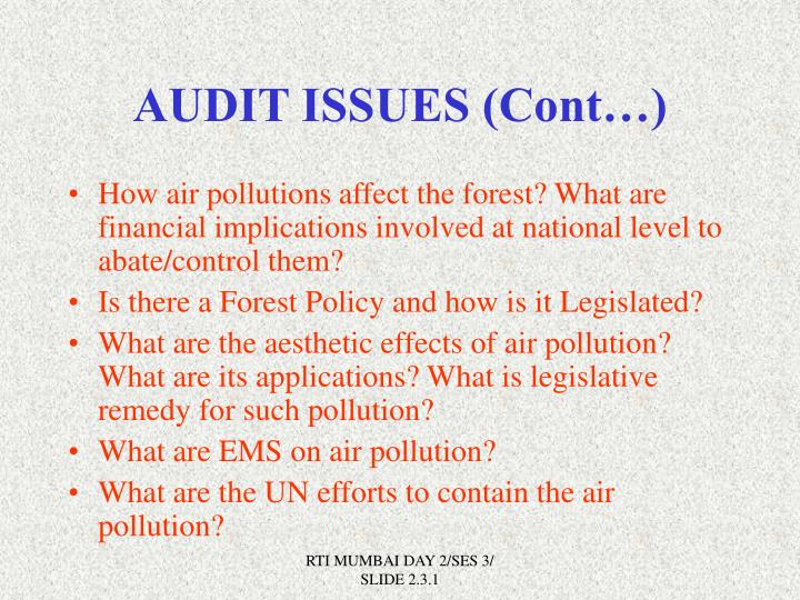 AUDIT ISSUES (Cont…)