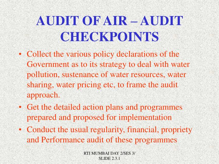 AUDIT OF AIR – AUDIT  CHECKPOINTS
