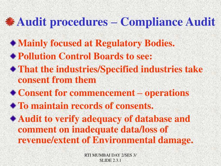 Audit procedures – Compliance Audit