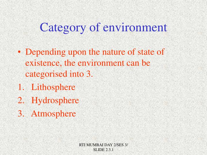 Category of environment