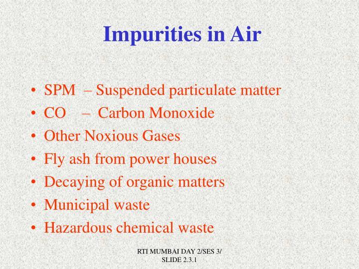 Impurities in Air