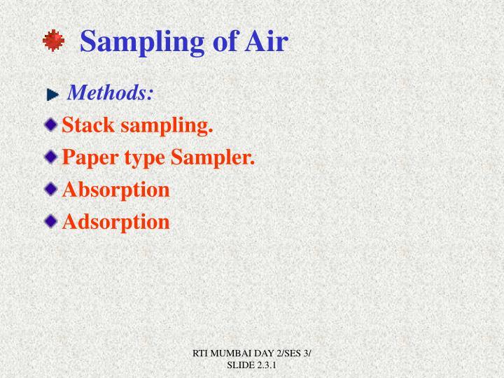 Sampling of Air