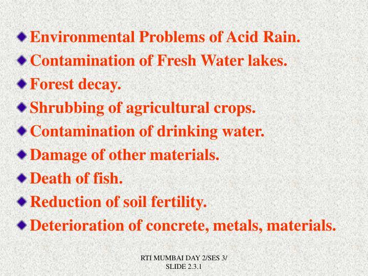 Environmental Problems of Acid Rain.