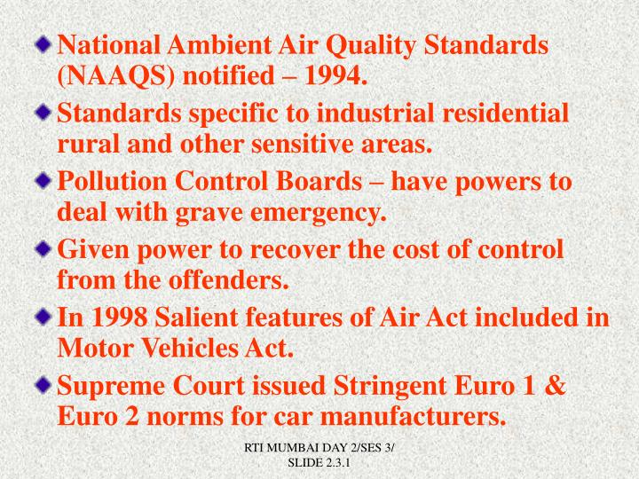 National Ambient Air Quality Standards (NAAQS) notified – 1994.