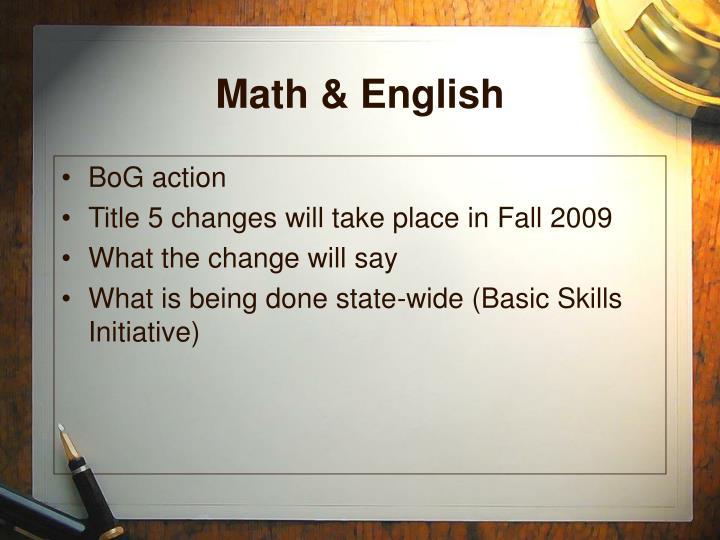 Math & English