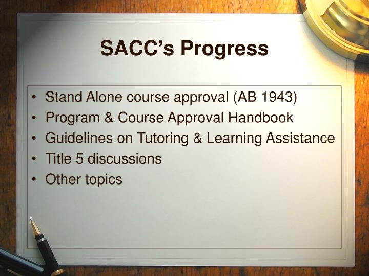 SACC's Progress