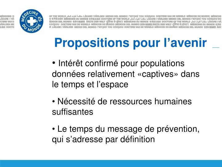 Propositions pour l'avenir
