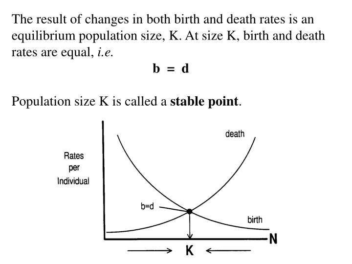 The result of changes in both birth and death rates is an