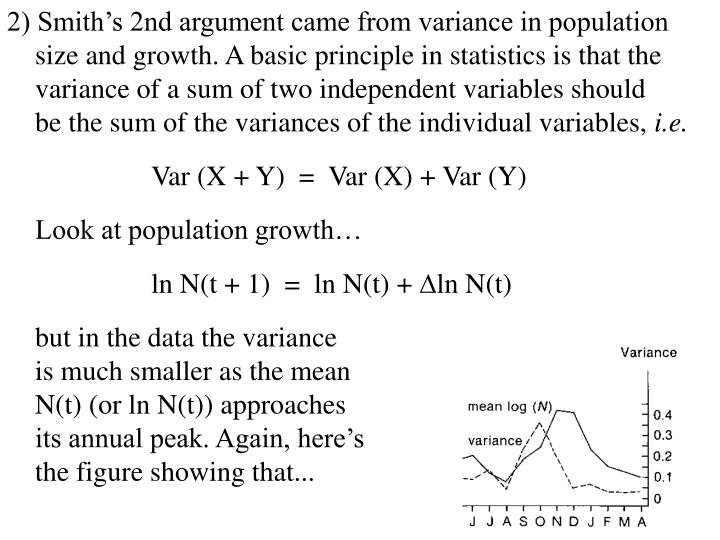 2) Smith's 2nd argument came from variance in population