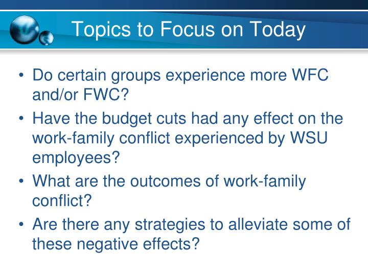 Topics to Focus on Today