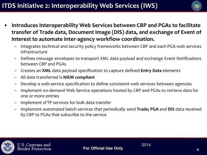 ITDS Initiative 2: Interoperability Web Services (IWS)