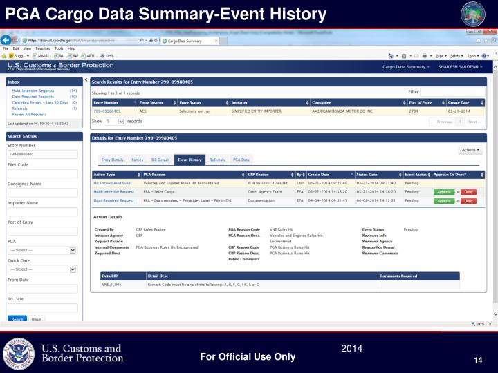 PGA Cargo Data Summary-Event History