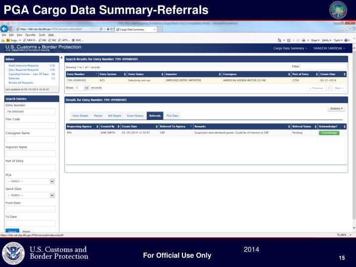 PGA Cargo Data Summary-Referrals