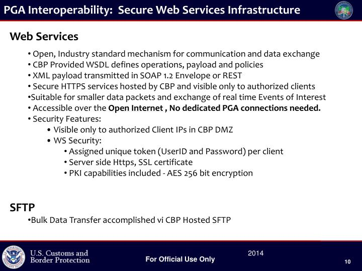 PGA Interoperability:  Secure Web Services Infrastructure