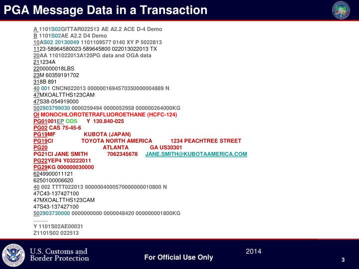 Pga message data in a transaction