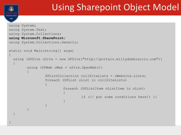 Using Sharepoint Object Model
