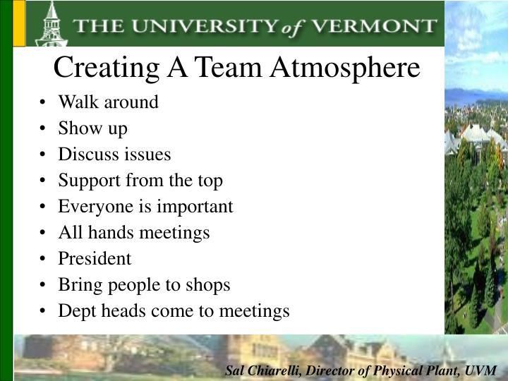 Creating A Team Atmosphere