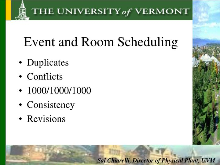 Event and Room Scheduling