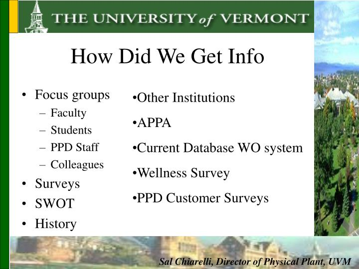 How Did We Get Info
