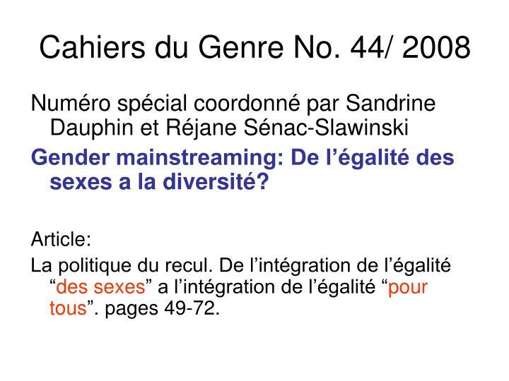 Cahiers du Genre No. 44/ 2008