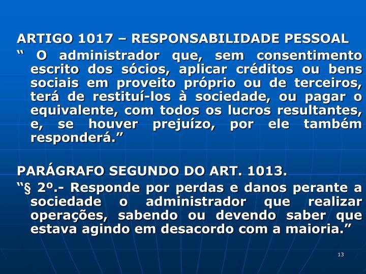 ARTIGO 1017  RESPONSABILIDADE PESSOAL