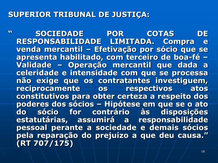 SUPERIOR TRIBUNAL DE JUSTIA: