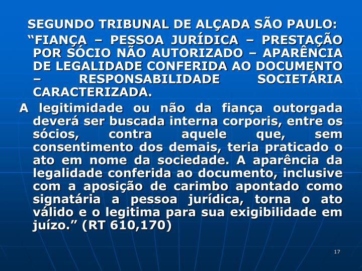 SEGUNDO TRIBUNAL DE ALÇADA SÃO PAULO: