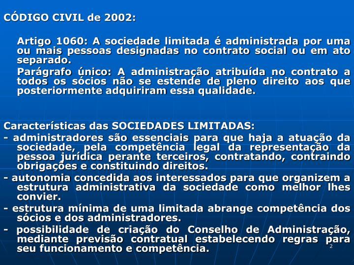 CÓDIGO CIVIL de 2002: