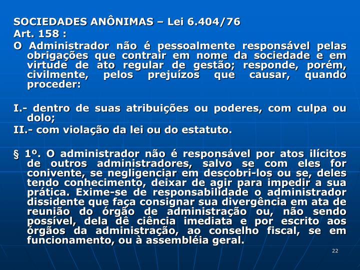 SOCIEDADES ANNIMAS  Lei 6.404/76