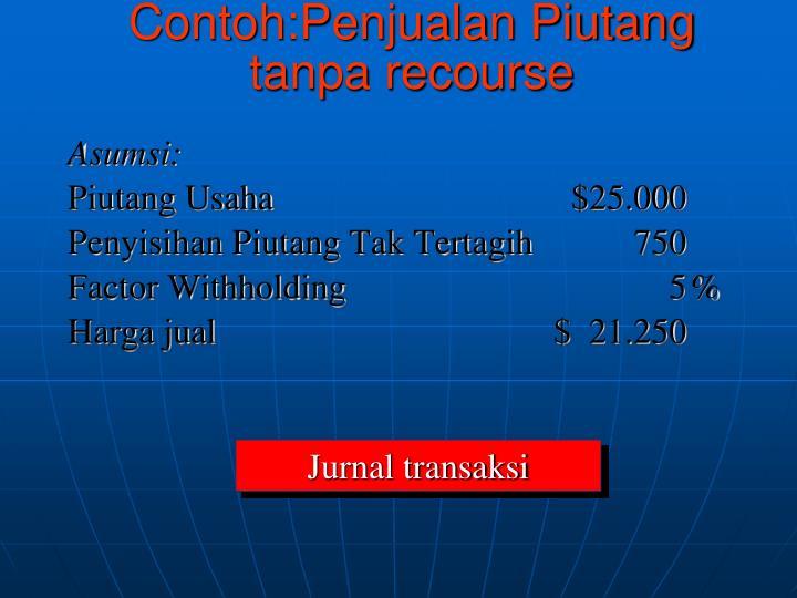 Contoh:Penjualan Piutang tanpa recourse