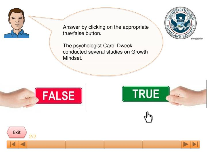 Answer by clicking on the appropriate true/false button.