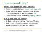 organization and filing
