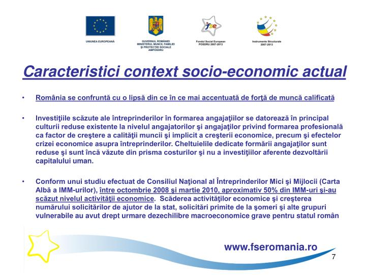 Caracteristici context socio-economic actual