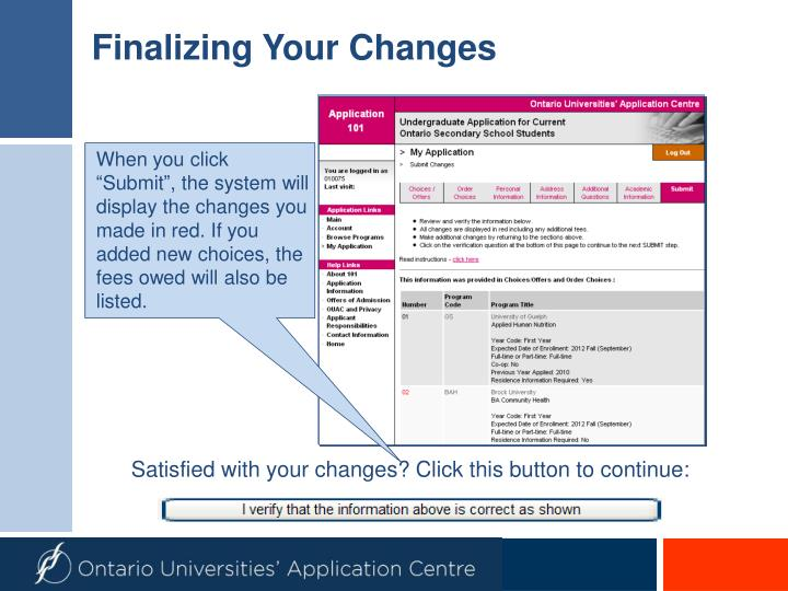 Finalizing Your Changes
