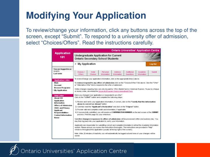 Modifying Your Application