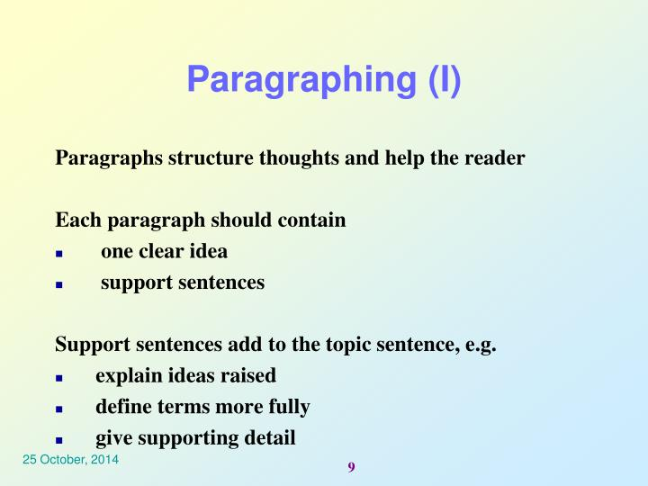 Paragraphing (I)