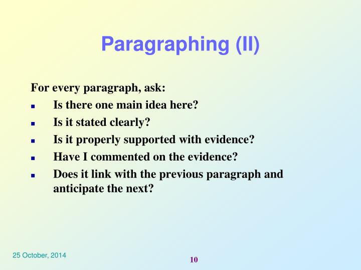 Paragraphing (II)