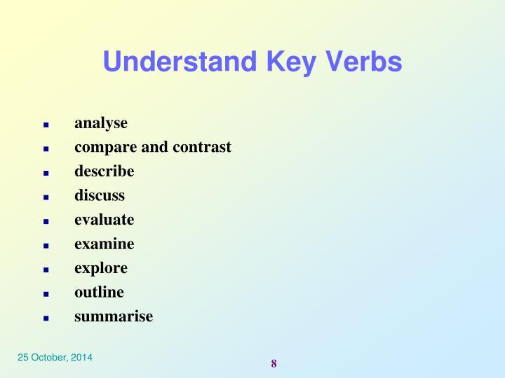 Understand Key Verbs