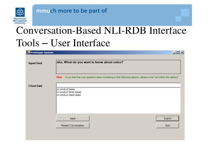 Conversation-Based NLI-RDB Interface Tools