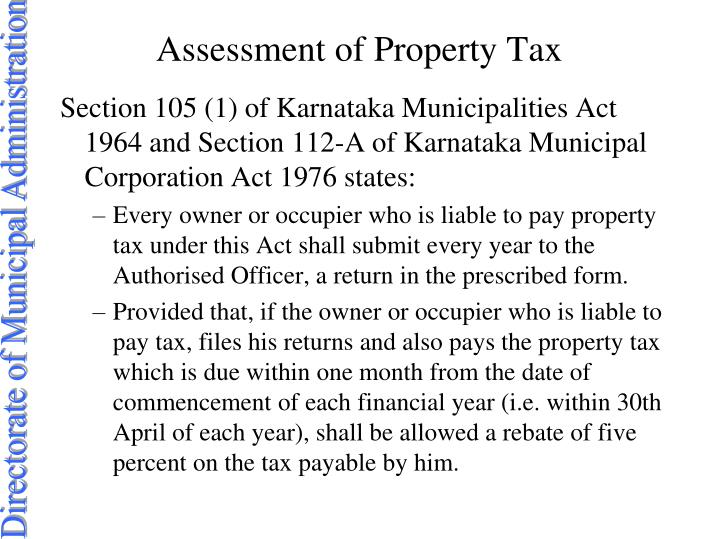 Assessment of Property Tax