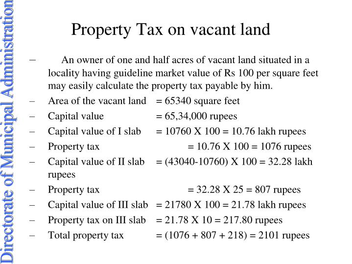 Property tax on vacant land